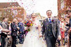 Confetti Throw Bride Groom Multicoloured Fun Creative Wedding http://www.catlaneweddings.com/