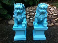 Aqua Foo Dogs by RevitalizedRelics on Etsy