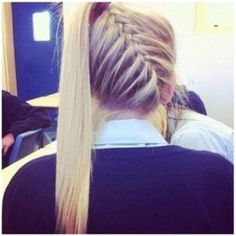 """Diagonal (upside down) French Braid Into a Ponytail. Soooo cute!! I need to try this on one of my """"models"""" aka aunt or cousin :P"""