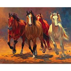 Bring the rustic wild into your home with this vivid and colorful Nancy Davidson piece, 'Hoofbeats and Heartbeats'. The canvas artwork features four colorful horses, stampeding through a golden plane. Pretty Horses, Beautiful Horses, Horse Drawings, Art Drawings, Painting Prints, Art Prints, Painting Canvas, Canvas Artwork, Horse Artwork