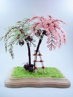 Beaded Coconut Sculpture Trees by wireforest on Etsy, $65.00