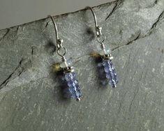 Tanzanite Opal Earrings small stacks natural gemstones