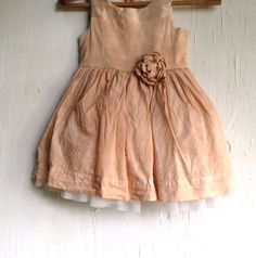 lovely little cotton dress- hand dyed on my vintage gas stove, lovely mocha, tan, ecru....buttons in back, bow, tulle underskirt- satin on