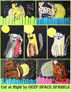 art project of cats at night