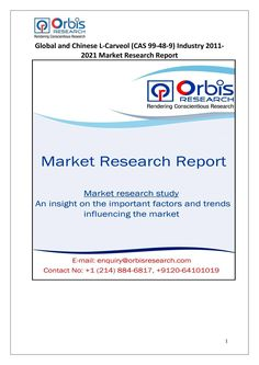 The 'Global and Chinese L-Carveol Industry, 2011-2021 Market Research Report' is a professional and in-depth study on the current state of the global L-Carveol industry with a focus on the Chinese market.   Browse the full report @ http://www.orbisresearch.com/reports/index/global-and-chinese-l-carveol-cas-99-48-9-industry-2011-2021-market-research-report .  Request a sample for this report @ http://www.orbisresearch.com/contacts/request-sample/124440 .