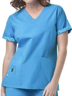 Fold over v-neck with self edged piping Banner Online, Womens Scrubs, Mary Engelbreit, Scrub Tops, V Neck Tops, Tunic Tops, Couture, Sleeves, Cotton