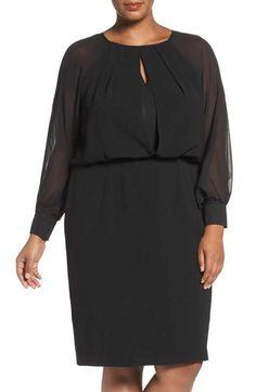 Adrianna Papell Illusion Sleeve Blouson Dress (Plus Size)