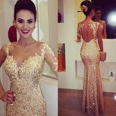 Gold Prom Dresses, Backless Prom Dress, Mermaid Prom