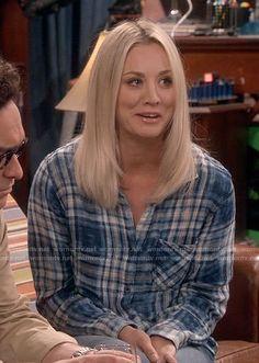 Penny's blue plaid shirt on The Big Bang Theory.  Outfit Details: https://wornontv.net/79771/ #TheBigBangTheory