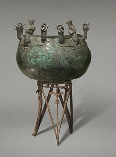 Cauldron with griffin and siren attachments, ca. 8th–7th century B.C. Bronze. Cyprus, Salamis, Tomb 79. Department of Antiquities, Cyprus, SAL. T.79/202 | This object is featured in our #AssyriatoIberia exhibition on view through January 4, 2015. #Halloween