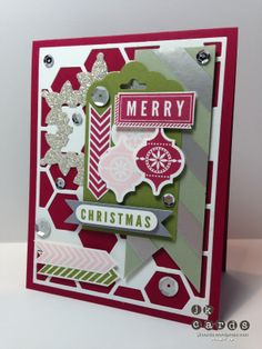 Stampin' up!, Paper Players 175, A Banner Christmas, Very Merry Tags, Hexagon Hive Thinlit*, Festive Flurry Framelits, Bitty Banners Framelits, Scallop Tag Topper Punch*,Silver Fancy Foil Vellum*, Mosaic Punch, Sequins, *2014 Occasion Catalog (January 3, 2014)