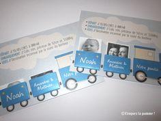 Faire-part naissance gare et train Birth card ©croquezlapomme Sur-mesure par Croquez la pomme !