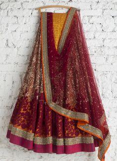 dark red orange lehenga inspiration by Swati Manish Designer Bridal Lehenga, Indian Bridal Lehenga, Bridal Dupatta, Indian Sarees, Pakistani Outfits, Indian Outfits, Indian Clothes, Indian Attire, Indian Wear