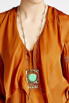 Aurélie Bidermann 18K Gold Plated Necklace with Turquoise Stone