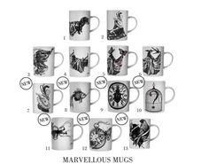 #Mugs #Kitchen #RoryDobner #Dobner #Illustration #Blackandwhite #Tea