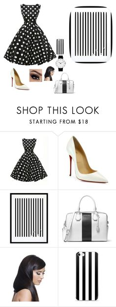 """Black and White World"" by ninjakitty3k ❤ liked on Polyvore featuring Christian Louboutin, Eleanor Stuart, MICHAEL Michael Kors, Donna Bella Designs and Rosendahl"