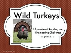 "This is great science  2 page informational reading passage about wild turkeys.  It is paired with a ""make a wild turkey STEM challenge"".  This aligns to the Next Generation Science standards.  There are four graphic organizers for independent follow-up work after the reading, and specific instructions for the challenge."