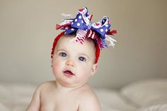 Red, Royal, and White July 4th Over The Top  Bow on Matching Headband via etsy //repinned from Beth Cochran