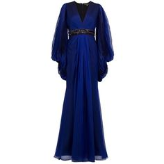 ANDREW GN Pleated Sleeve Gown (7,690 CAD) ❤ liked on Polyvore featuring dresses, gowns, long dresses, vestidos, blue, women, long chiffon evening dress, beaded gown, beaded chiffon gown and pleated chiffon dress