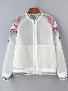 White Long Sleeve Round Neck Embroidered Organza Coat - Outerwear - Tops