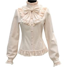 Partiss Women's Stand-up Collar Lace Ruffle Victorian Thicken Lolita... (2.705 RUB) ❤ liked on Polyvore featuring tops, blouses, victorian blouse, pink button down shirt, victorian shirt, lace shirt and victorian ruffle blouse