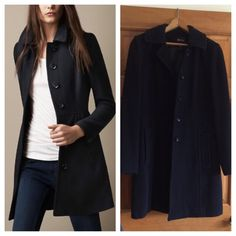 Black Wool Coat Classic black tailored wool coat by Style & Co. Trendy yet classic. Great dressed up for work or worn casual with your skinny jeans and boots. Very gently worn! Black goes with everything! Style & Co Jackets & Coats