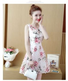 Buy Vermilion Floral Print Sleeveless A-Line Dress at YesStyle.com! Quality products at remarkable prices. FREE Worldwide Shipping available!