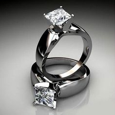 wide cathedral band princess-cut solitaire engagement ring #princesscutring