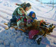 On The Slide ~ Eugeni Balakshin (1962,Russian)