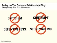 Can you recognize The Four Horsemen? We teach you how in today's posting on The Gottman Relationship Blog:     http://www.gottmanblog.com/2013/04/the-four-horsemen-recognizing-criticism.html