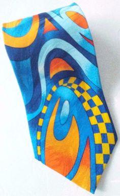 Rush Limbaugh No Boundaries Silk Neck Tie Bright Abstract Checks Multicolored  #RushLimbaugh #NeckTie