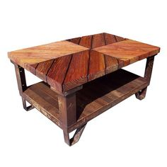"""#Throwback: Our Industrial Railyard Coffee Table: The base is made from an ol' salvaged industrial pallet. At about 1-1/4"""" thick, the bottom shelf is made from reclaimed Heart Pine boards with the natural skin. Clear coats of our waterborne topcoat is applied. The table top is made of reclaimed long leaf Heart Pine boards. Our special oil & wax finish is applied. The top is 2-1/4""""x 32""""x 51"""" & the table stands at 24-1/2"""" tall. #evolutiamade #coffeetable #tbt #throwbackthursday"""