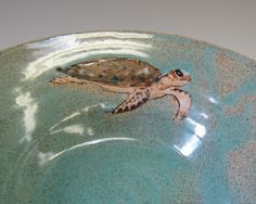 Sea Turtle In A Turquoise Sea Bowl by madmud on Etsy