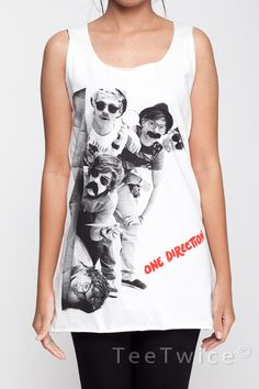 One Direction Shirt Detection Tank Top Women Shirts White Shirt Tunic Top Vest Sleeveless Women T-Shirt Size S M from TeeTwice on Etsy. One Direction T Shirts, One Direction Outfits, My T Shirt, Shirt Dress, Cool Shirts, Cute Outfits, T Shirts For Women, Men Shirts, Tunic Tops