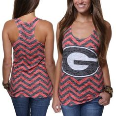 Georgia Bulldogs Ladies Chevron Racerback Tank Top
