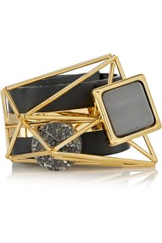 Marni Embellished Leather and Gold-Plated bracelet, $650, Net-A-Porter.com