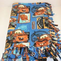 Tow Mater Fringe Tie Blanket Cars Handmade Fleece Throw Toddler