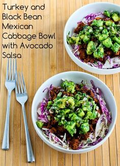 I love the spicy flavors in this recipe for Turkey and Black Bean Mexican Cabbage Bowl with Avocado Salsa, and it's Low-Carb, Gluten-Free, South Beach Phase One, and can be Paleo with homemade mayo.  [from KalynsKitchen.com] #DeliciouslyHealthyLowCarb