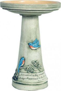 Bluebird Birdbath w/ Glazed Interior Pedestal Set by Burley Clay Wild Bird Bath Mosaic Birdbath, Buy Birds, Bird Theme, Backyard Birds, Backyard Ideas, Garden Ideas, Bird Patterns, Clay Pots, Bird Houses