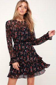 3c3424ab2214 Floral to See Black Floral Print Long Sleeve Mini Dress Χαριτωμένα Ρούχα