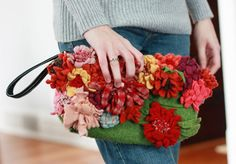 Purse covered in felt flowers from old sweaters