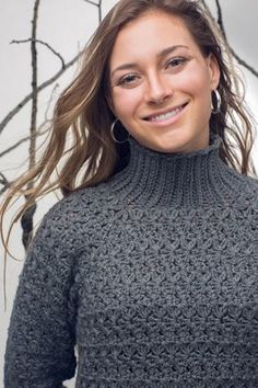 This crochet sweater has a beautiful stitch pattern. Hawksbill Turtleneck