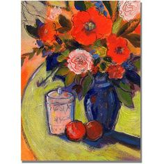 Trademark Art Red Flowers with Jar Canvas Wall Art by Shelia Golden, Size: 35 x 47, Multicolor