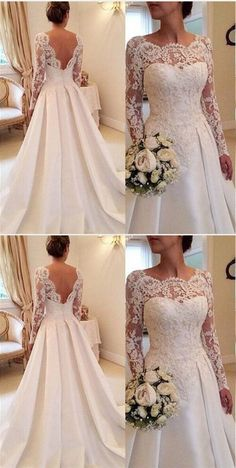 Lace Long Sleeves Wedding Dress A Line Satin Skirt Bridal Gowns Lace Long Sleeves Brautkleid A Line Satin Rock Brautkleider Lace Wedding Dress With Sleeves, Red Wedding Dresses, Sweetheart Wedding Dress, Long Sleeve Wedding, Cheap Wedding Dress, Lace Sleeves, Lace Bridal Gowns, Dress Lace, A Line Wedding Dress With Sleeves
