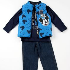MICKEY MOUSE 3-Piece Vest and Pants Set