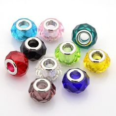 10pcs Transparent Resin European Beads Large Hole Faceted Mixed Color DIY Charms