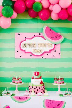 Watermelon Themed Dessert Table from a ONE in a MELON Modern Watermelon Birthday Party on Kara's Party Ideas | KarasPartyIdeas.com (19)
