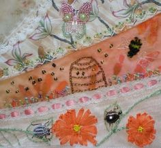 ❤ crazy quilting & embroidery. . . Butterfly, Bee, & Beetle round robin 2010- Cathy L's Block- Diane's work.