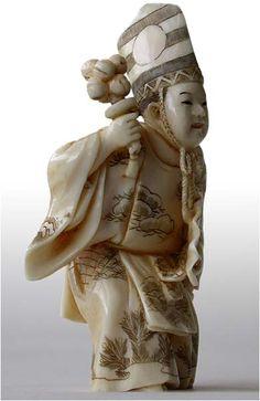 19th Century Sambaso Dancer Netsuke by Shogetsu