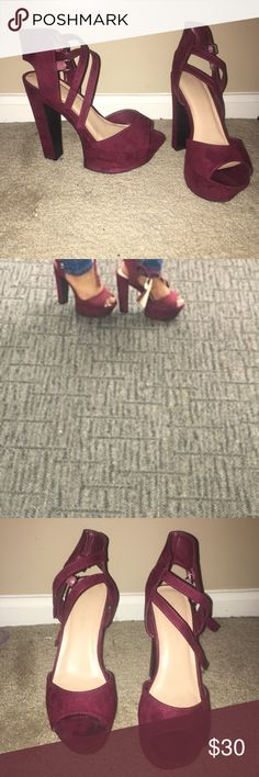 Chunky Heels Super cute chunky heels! Worn once!  Listed as red because Poshmark doesn't have a burgundy option but they're burgundy! 😊 Shoes Platforms